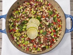 Tossed Red Quinoa Summer Salad with Lime Dressing