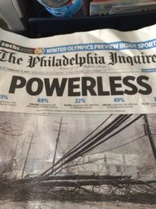 "The Philadelphia Inquirer's headline ""POWERLESS"""