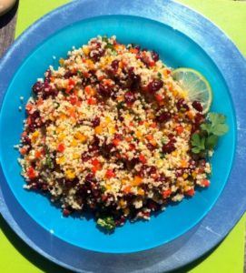 Cranberry & Cilantro Quinoa Salad on plate