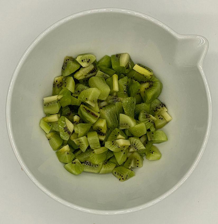 Kiwi Papaya Fruit Salad - cubed kiwi in a bowl