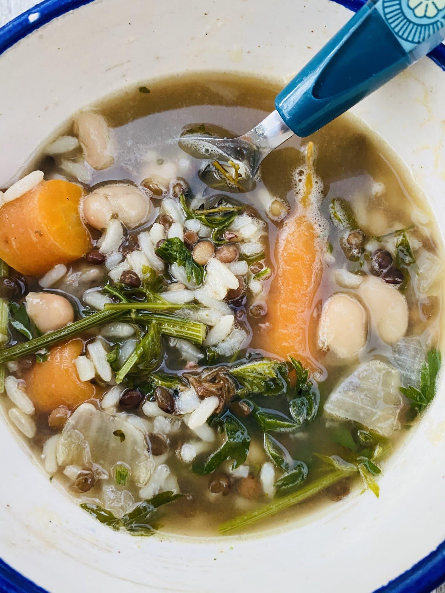 Lentil Rice carrot op Soup